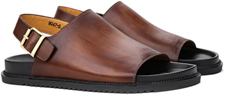 Fashion Summer Mens Beach Sandals Genuine Leather Flat Sandals Men Handmade shoes Beach Flip Flops Sandals Seaside Slippers Men's Boots (color   Brass, Size   7UK)