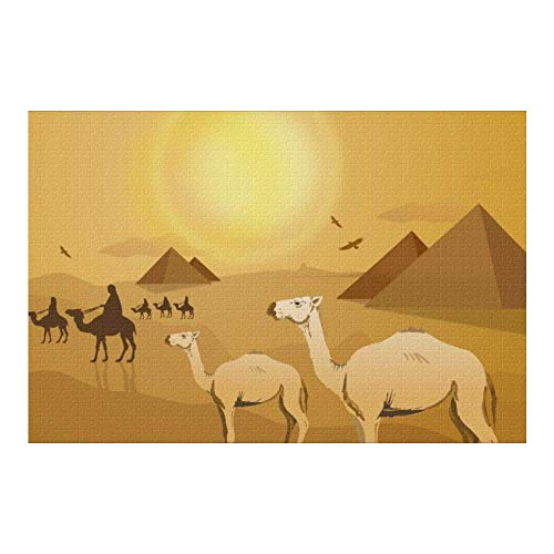 Picture Puzzle, Egypt Pyramids Camels Jigsaw Puzzle 1000 Piece Funny Brain Puzzles Educational Gift for Adult Kids Family Home Wall Decorations