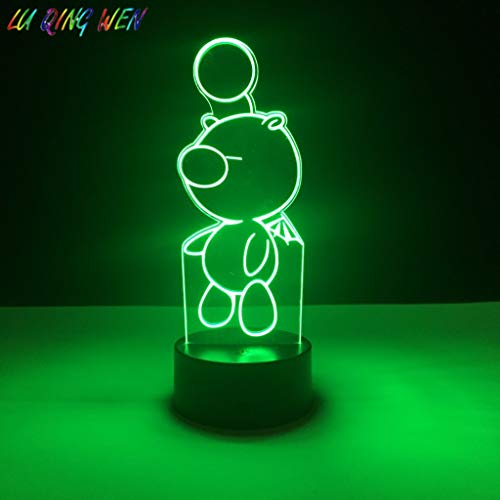 Baby LED Nigh Mesita de noche Lámpara Moogle Final Fantasy Night Light Niños Dormitorio Decoración Light Boys Best Kids Gift 3D LED Night Light Niños