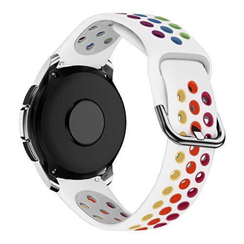 MroTech 20mm Silikon Armband kompatibel für Samsung Galaxy Watch 42MM/Active 2/Active2 40mm/44mm Sportarmband 20 mm Uhrenarmband Ersatz für Huawei GT2 42MM/Vivoactive 3/Vivomove HR Band Weiß/Neon