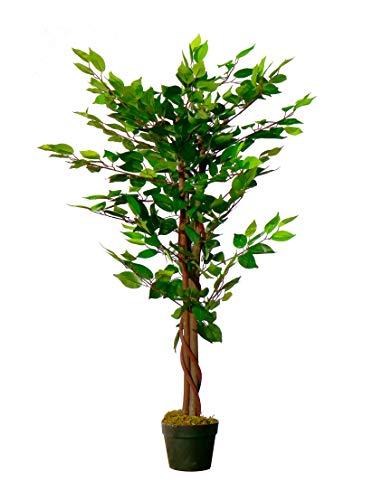 Spetebo Kunstpflanze Benjamini im Blumentopf - 115 cm - Deko Pflanze Zimmerpflanze künstlich Kunstbaum Birkenfeige (grün/weiß)