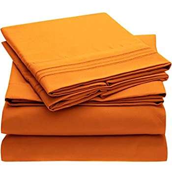 Mellanni Queen Sheet Set - Hotel Luxury 1800 Bedding Sheets & Pillowcases - Extra Soft Cooling Bed Sheets - Deep Pocket up to 16 inch - Wrinkle Fade Stain Resistant - 4 Piece  Queen Persimmon
