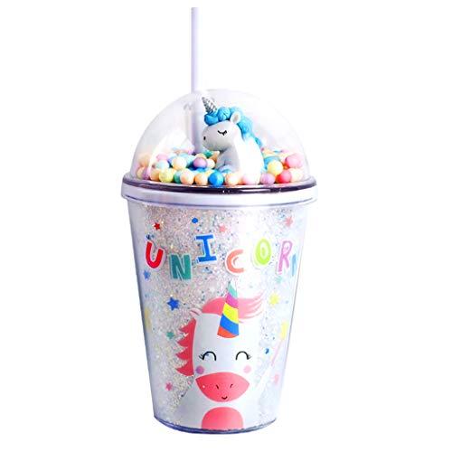 Botella de agua para niños, diseño de unicornio con purpurina de doble pared, taza de viaje con tapa y pajita, 380 ml, reutilizable, sin BPA, para fiestas de verano y regalos (B)