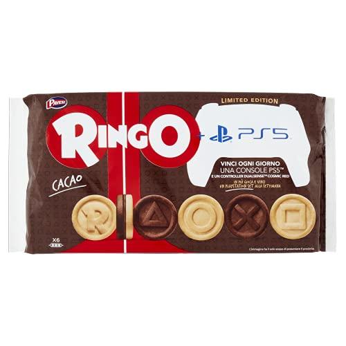 Pavesi Ringo Biscotti Farciti con Crema al Gusto Cacao per Colazione o Gustoso Snack, senza Olio di Palma, Formato Famiglia - Confezione da 330 g
