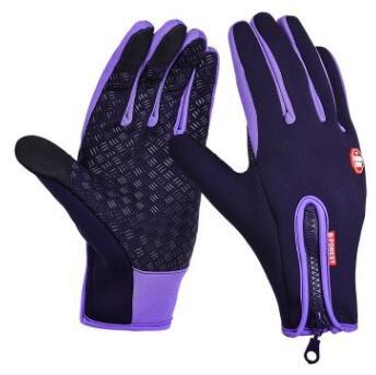 Unisexe Écran Tactile Hiver Gants Chauds Vélo Vélo Ski en Plein Air Étanche Camping Randonnée Moto Gants Sport Plein Doigt - Violet, XL