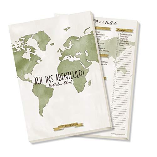 Packlisten-Block, Reiseorganizer, Reisecheckliste zum Abhaken und Ausfüllen, DIN A5, 50 Blatt - Kollektion: Reiseliebe