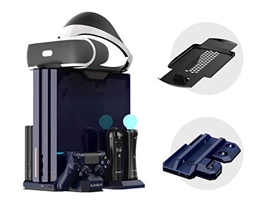 Supporto Verticale per PlayStation 4 - ElecGear PS VR Vertical Stand, Ventola di Raffreddamento, Stazione di ricarica LED Charger per DualShock, Controller di Move e Navigazione, PS4, Pro, Slim