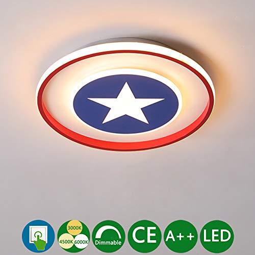 Luminaire Plafonnier LED Dimmable Blanc Chaud/Neutre Blanc/Blanc Froid Lampe Plafond Pépinière Chambre Salon Applique Fille Fille Garçon Captain America Shield Lampe Plafonnier Rond,Ø40*h5cm~38w