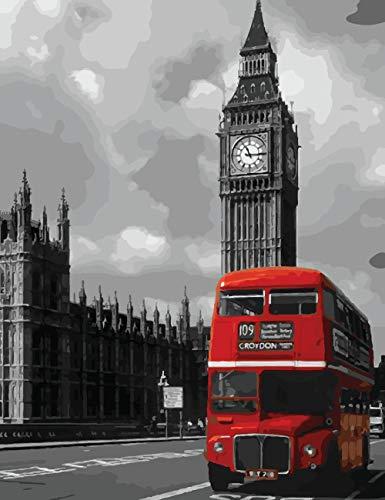 Big Ben rood bus afbeelding beginner tekening cijfers kinderen volwassenen knutselen olieverfschilderijen kits wanddecoratie 40 x 50 cm (B) With Frame