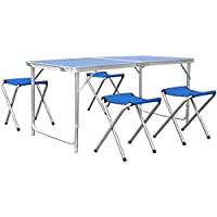 HOMFA Mesa plegable camping Mesa playa Mesa de jardín Mesa para picnic con 4 sillas ajustables Mesa para acampada Azul 120x60x55cm