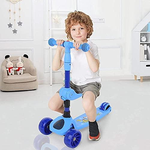 Serrale Kid S 3-En-1 Patinete De Altura Ajustable con 3 RuedasBlance Portátil con Música Scooter para Niños Adecuado para Niños Mayores De 2 Años