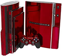 Red Chrome Mirror Vinyl Decal Faceplate Mod Skin Kit for Sony PlayStation 3 Skin (PS3) Console by System Skins