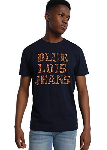 LOIS JEANS - Camiseta con Letras Estampadas para Hombre   sintético   Tallaje en Pulgadas   Talla Inch