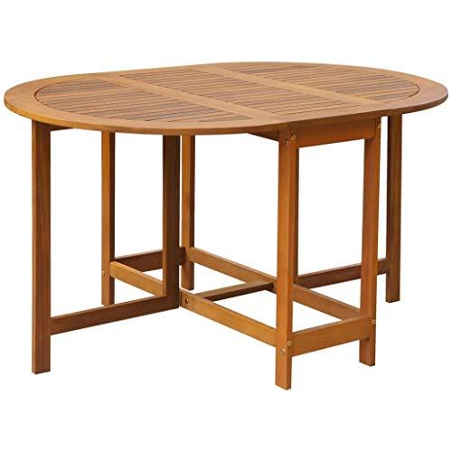 Mesa de jardín de madera maciza de acacia, mesa plegable de comedor...