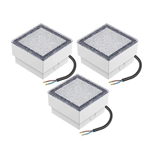 Parlat LED mattonella Lampada da Incasso a Suolo CUS 10x10cm 230V Bianca Calda, 3 PZ