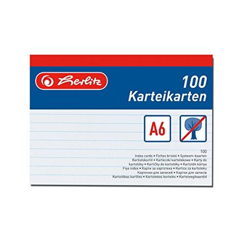 Herlitz 1150606 Karteikarte A6 liniert 100 Stück, weiß