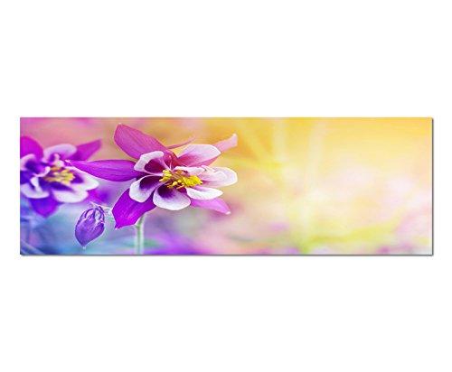 Panoramabeeld op doek en spieraam 150x50 cm bloemen bloemen bloemen bloemen kleurfilter abstract