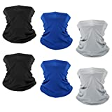 6 PCS Sun UV Protection Face Mask Neck Gaiter Windproof Scarf Sunscreen Breathable Bandana Balaclava for Sport&Outdoor (Color3(6 PCS))