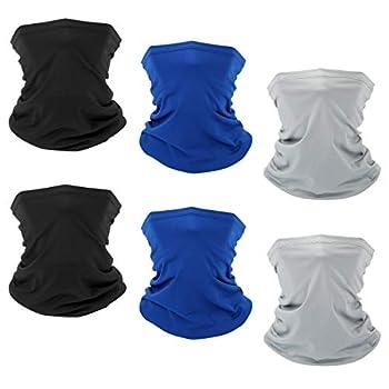 6 PCS Sun UV Protection Face Mask Neck Gaiter Windproof Scarf Sunscreen Breathable Bandana Balaclava for Sport&Outdoor  Color3 6 PCS  …