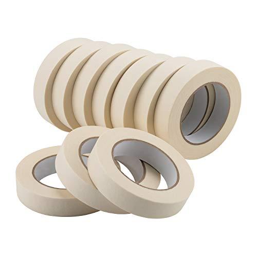 Lichamp Masking Tape 1 inch, 10 Pack General Purpose Masking Tape Bulk Multipack for Basic Use, 1 inch x 55 Yards x 10 Rolls (550 Total Yards)