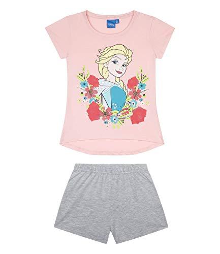Disney Die Eiskönigin Mädchen Shorty-Pyjama mit Rubber-Druck Kinder Schlafanzug 2-teilig Hellrosa 116