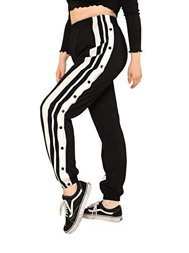 SOLY HUX Damen Hosen Sweatshose Übergroß Sweatpants Elastischer Bund Jogginghose mit Knöpfe Locker Oversize Schwarz 3XL