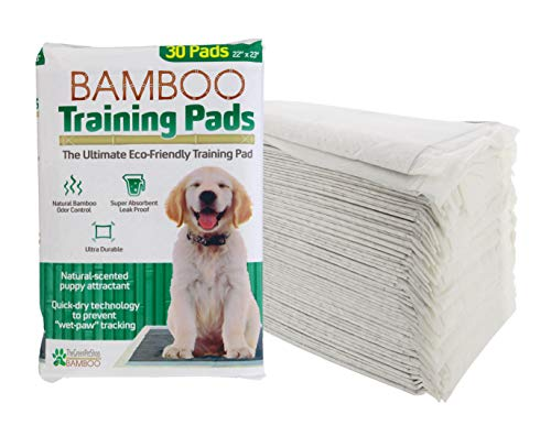 Bamboo Dog Training Pads by The Green Pet Shop – 30 Count, Super Absorbent Pads with Prolonged Odor Control – Ideal Puppy Training Pads or Incontinence Pads for Senior Pets – 22 x 23 Inches