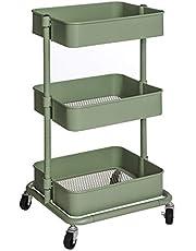 SONGMICS Trolley met 3 niveaus, opbergwagen, keukenplank met wielen, in hoogte verstelbare rekken, serveerwagen met 2 remmen, eenvoudige montage, voor badkamer, keuken, kantoor, grijsgroen BSC060C01