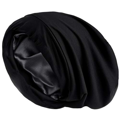 YANIBEST Satin Lined Sleep Cap Slap Hat - Pure Black Night Cap for Pineapple Hair No Fadding Adjustable Satin Bonnet for Women