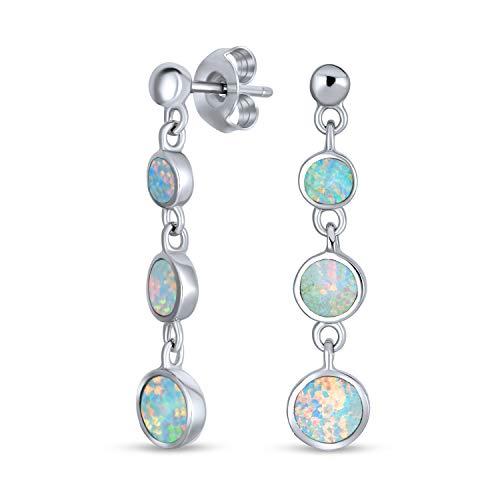 bling jewelry orecchini Disco Rotondo Bianco Opale Creata Lungo La Mascherina Goccia Orecchini Pendenti Per Donne Argento 925 Ottobre Birthstone