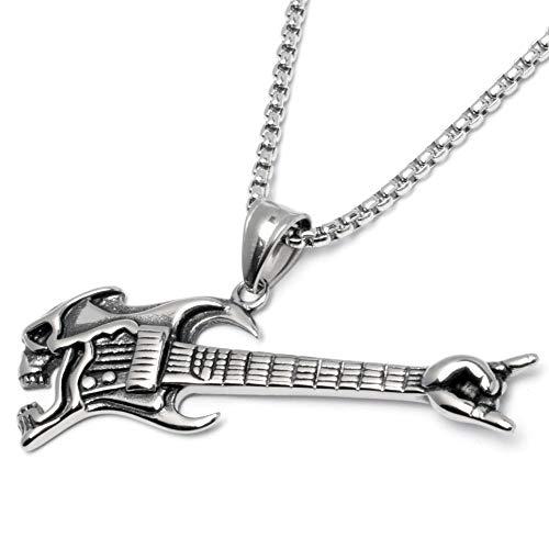 Schmuck-Checker Rock Gitarre mit Totenkopf als Edelstahl Anhänger mit Halskette Skull Rockerschmuck silber Rockstar Männerschmuck Geschenk Ankerkette Venezianerkette Herrenschmuck Herrengeschenk
