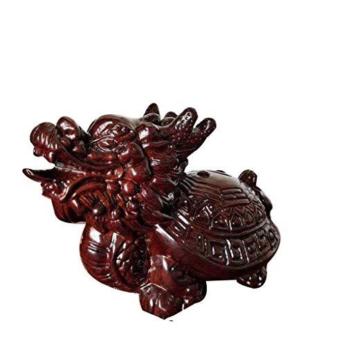 QULONG Estatua de ébano Tai Chi Dragon Turtle, Dragon Turtle se Sienta en la Estatua para Proteger la Riqueza, Zhaocai Town House felicitación de inauguración de la casa
