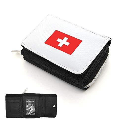 Mygoodprice Geldbörse mit Schweizer Flagge Gr. Einheitsgröße, Schwarz