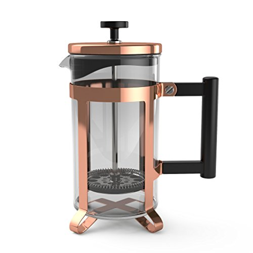 bonVIVO GAZETARO III French Press Coffee Maker, Cold Brew Coffee Makers Machine Made of Stainless Steel And Heat Resistant Borosilicate Glass, Coffee Press in Copper Finish, With Filter, 34 ounces