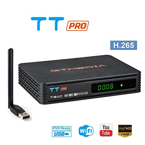 GT MEDIA TT Pro Decodificador TDT Terrestre Receptor TV Digital Cable DVB-T/T2...