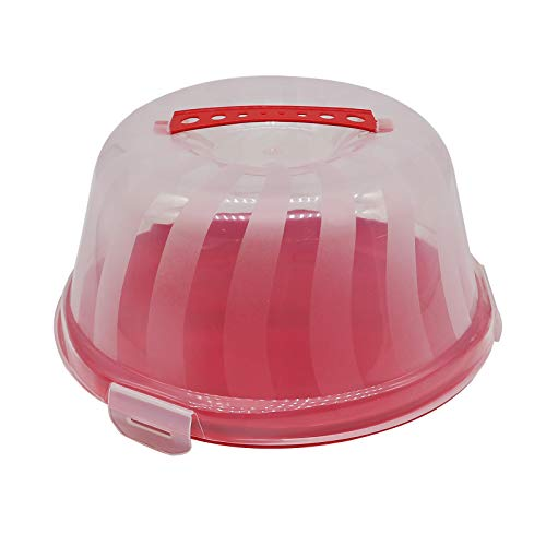 Stylish Cake Carrier for Up to 9 inch Cake with 3 Locking Clamps Multi Purpose Food Container - Transports Cakes, Pies, Muffins or Other Desserts