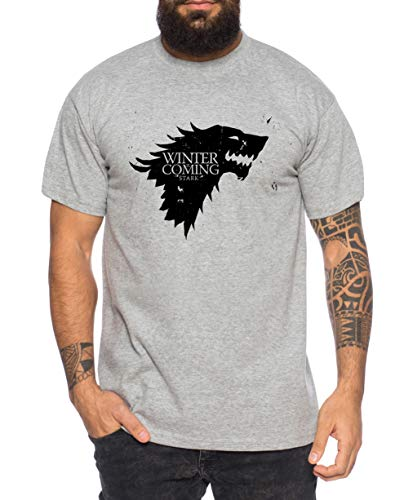 Coming Herren Game T-Shirt Cooles Thrones Shirt, Farbe:Grau Meliert, Größe:XL
