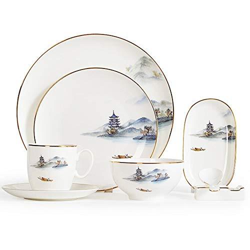 WDSWBEH Juego de vajilla de porcelana china de 8 piezas, vajilla de cerámica, agua clara y cloud Sky Setting (platos, platos de postre, cuencos, tazas, cucharas), 1 juego (8 unidades)