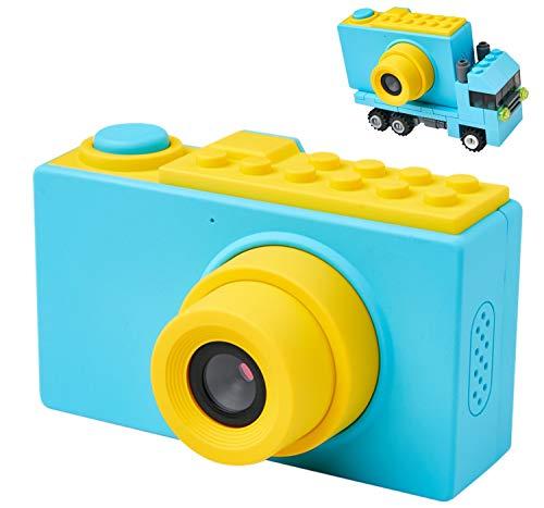 MagicSmiles Macchina Fotografica per Bambini, Doppia Fotocamera Digitale, Selfie, Videocamera HD 1080p   8MP  Scheda SD 16GB   LCD 2 Pollici   Zoom  Effetti  Regalo Bambino Compleanno (Blu_Camioncino)
