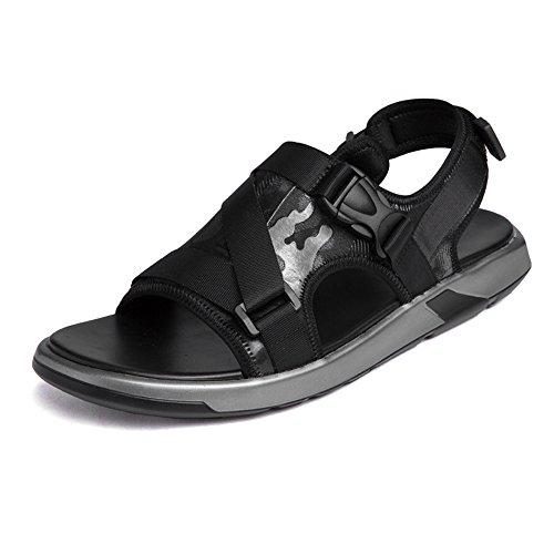 Shabnbhacz Zapatos para Hombre Sandalias de Playa genuinas de Cuero para Hombre Sin Deslizamiento Subduuntedor Plano de Punta Abierta Zapatos Exteriores (Color : Black, Size : 8MUS)