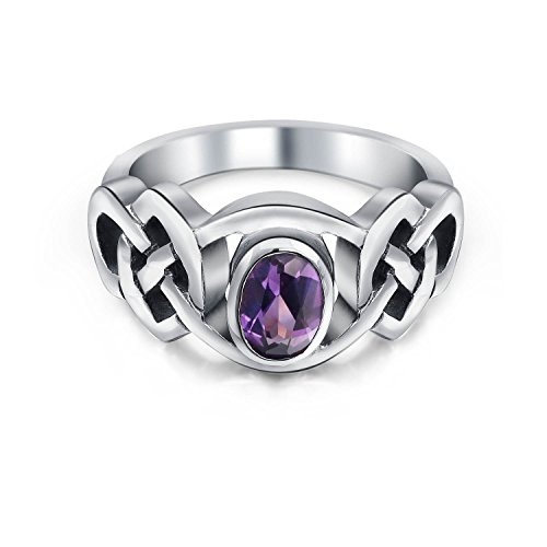 『[ブリングジュエリー] アメジスト シルバー925製 幅1ミリ 紫 ケルトノット トリケトラ 2月誕生石 指輪 サイズ14号』の2枚目の画像