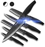 Wanbasion 6 Pieces Matte Black Titanium Plated Knife Set Stainless Steel Forged Kitchen