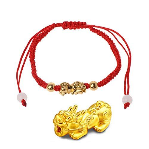 N/A/ Pulsera de oro chino Feng Shui Pi Xiu Kabbalah Red String Pulsera de protección de los ojos