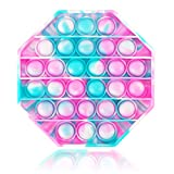 Push pop pop Bubble Sensory Fidget Toy Silicone Octagon Tie Dye Camouflage Anxiety Stress Reliever Squeeze Sensory Toy (Green and Pink)