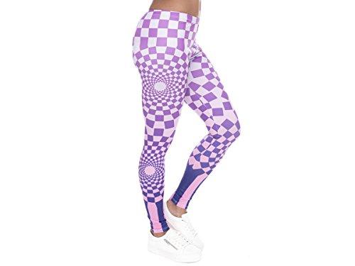 Alsino Damen Gym Leggings mit All-Over-Print Motiven - Größe: One Size - Stretch fähig, Muster Lila (LEG-102)