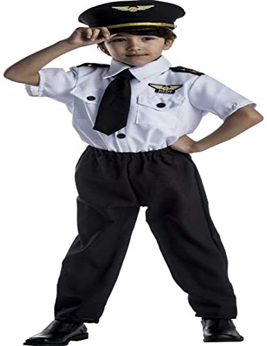 Dress Up America Deluxe Childrens Pilot Costume Set,White,Small 4-6 (31