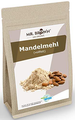 Mr. Brown Mandelmehl vollfett 1 Kg | glutenfrei | vegan | Mandel gemahlen - gemahlene Mandeln - weiß - blanchiert | neutraler Geschmack | abgefüllt in Bayern