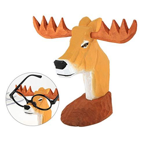 Garneck Brillenhalter Holz Tier Stehen Holzschnitzerei Brillenhalter Tier für Schreibtisch Display Männer Frauen Kinder, 1pcs Hirsch Design Brillengestell Tier