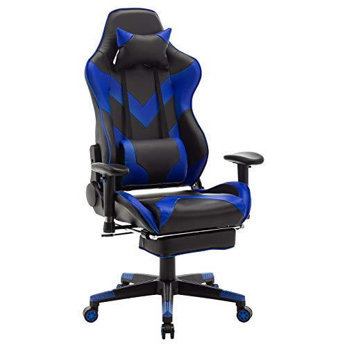 WOLTU® Racing Stuhl BS20bl Gaming Stuhl Bürostuhl Schreibtischstuhl Sportsitz mit Kopfstütze und Lendenkissen, Armlehne verstellbar, mit Fußstütze, Kunstleder, höhenverstellbar, Blau