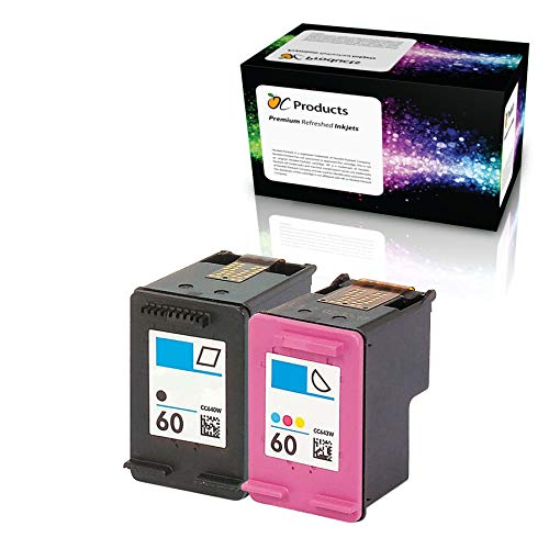 OCProducts Refilled Ink Cartridge Replacement for HP 60 for Envy 120 114 Deskjet F4480 F4210 D1660 F4400 Printers (1 Black 1 Color)